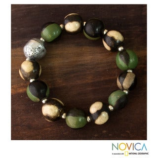 Handcrafted Ceramic 'Azacualpa Rainforest' Stretch Bracelet (Honduras)