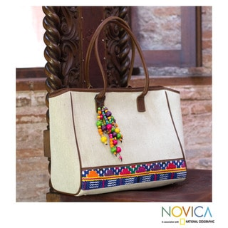 Handmade Leather Cotton 'Beads Of San Pedro' Tote Bag (Guatemala)