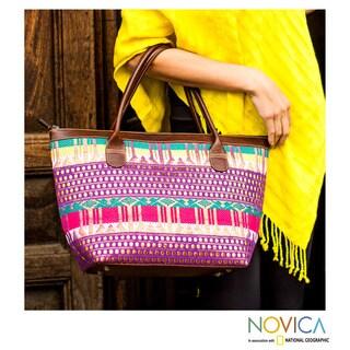 Handmade Cotton Leather 'Golden Legends' Tote Bag (Guatemala)