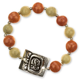 Handcrafted Ceramic 'Destiny's Path' Stretch Bracelet (Honduras)