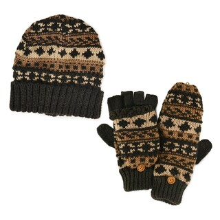 Men's Chunky Fairisle Cuff Chocolate Chip Cap and Flip Mittens Set