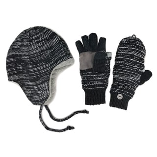 Muk Luks Men's Hat And Flip Mittens Set