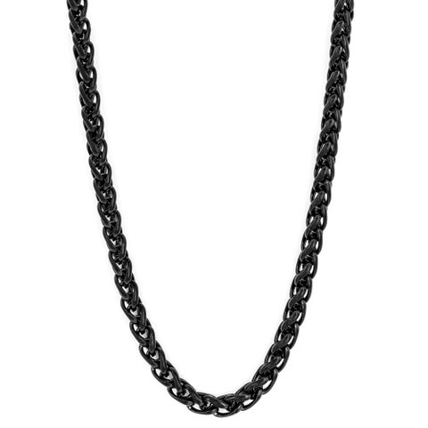Black-plated Stainless Steel 24-inch Spiga Chain