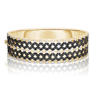Eloquence 14k Two-tone Gold 1 1/4ct TWD Black Diamond Bangle Bracelet (Black, I1-I2)