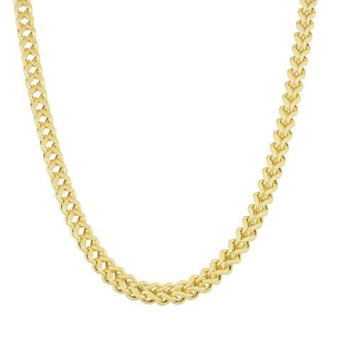 Fremada 14k Yellow Gold Bold Square Franco Necklace (22 inch)