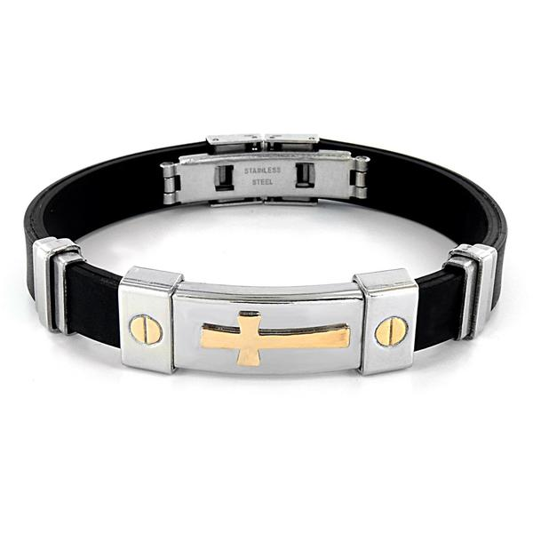 Shop Men S Stainless Steel And Rubber Id Bracelet On Sale Free