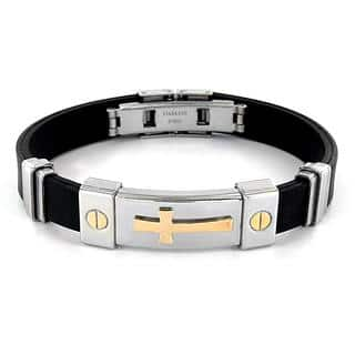Men's Stainless Steel and Rubber ID Bracelet|https://ak1.ostkcdn.com/images/products/9601558/P16787648.jpg?impolicy=medium