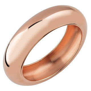 Oro Rosa 18k Rose Gold Over Bronze High Polish Slip-on Italian Bangle Bracelet
