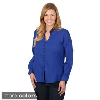 Journee Collection Women's Plus Button-down Roll-tab Sleeve Chiffon Top