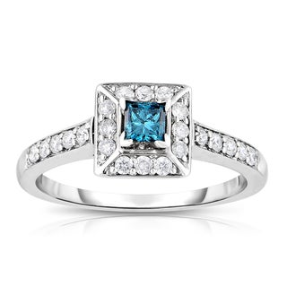 Eloquence 14k White Gold 3/4ct TDW Blue Princess Cut Halo Diamond Ring (Blue, I1-I2)