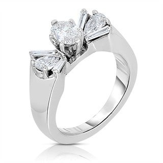 Eloquence 14k White Gold 1ct TDW One-Of-A-Kind Bow Shaped Diamond Ring (I-J, I1-I2)
