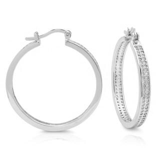 Sterling Silver Large Micro-pave Cubic Zirconia Hoop Earrings