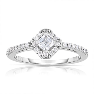 Eloquence 14k White Gold 1/2ct TDW Asscher-cut Halo Diamond Ring