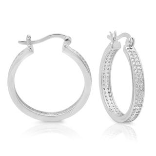 Sterling Silver Medium Micro-pave Cubic Zirconia Hoop Earrings