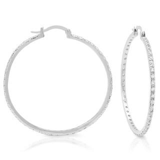 Sterling Essentials Silver Large Cubic Zirconia Hoop Earrings