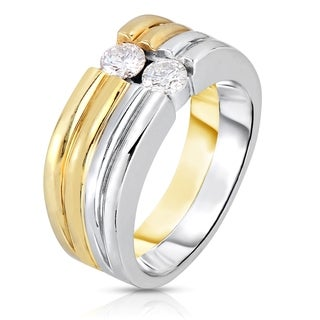 Eloquence 14k Two-tone Gold 1/2ct TDW 2-stone Multi-row Diamond Ring (J-K, SI1-SI2)