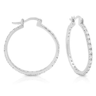 Sterling Essentials Silver Medium Cubic Zirconia Hoop Earrings