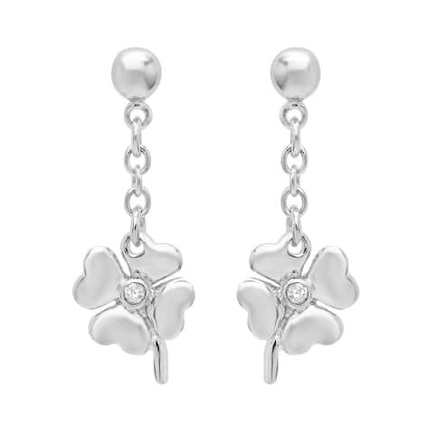 Roberto Martinez Silver Cubic Zirconia Heart Clover Drop Earrings