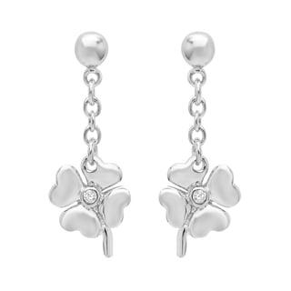 Sterling Essentials Silver Cubic Zirconia Heart Clover Drop Earrings