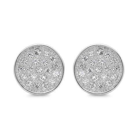 Sterling Essentials Silver Cubic Zirconia Micro-pave Circle Earrings