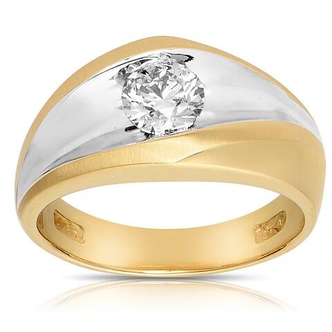 Eloquence 14k Yellow Gold 1ct TDW Mens Diamond Ring