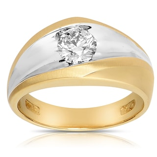 Eloquence 14k Yellow Gold 1ct TDW Mens Diamond Ring (SI1-SI2)