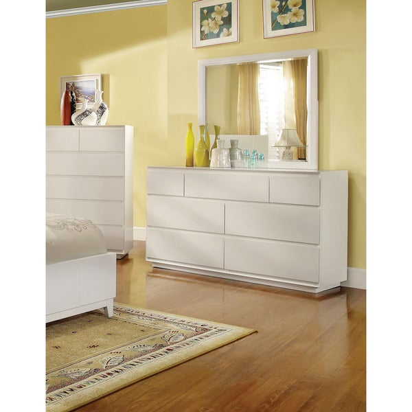 shop furniture of america cheshire modern white 2 piece dresser and mirror set free shipping. Black Bedroom Furniture Sets. Home Design Ideas