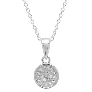 Sterling Essentials Silver Cubic Zirconia Micro-pave Circle Necklace