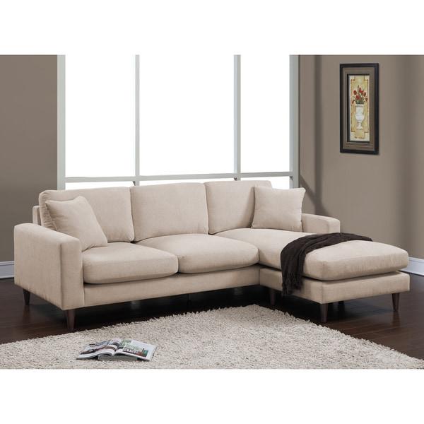 Shaffer Buff Fabric Two Piece Sectional Sofa