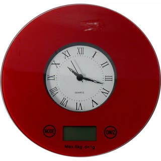 Digital Kitchen Scale with Quartz Clock (Option: Red)|https://ak1.ostkcdn.com/images/products/9601789/P16788549.jpg?impolicy=medium
