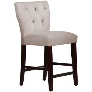 Skyline Furniture Tufted Hourglass Counter Stool in Velvet Light Grey