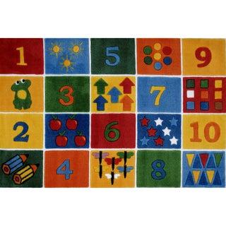 "Number Blocks Multi-colored Nylon Area Rug (3'3 x 4'8) - 3'3"" x 4'8"""