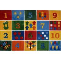 Number Blocks Multi-colored Nylon Area Rug (3'3 x 4'8) - multi
