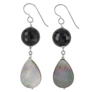 Ashanti Sterling Silver Mother of Pearl and Onyx Gemstone Earrings (Sri Lanka)