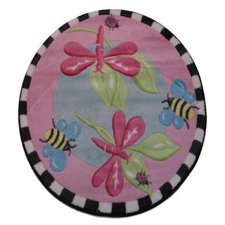 """Pink Dragonfly Pink Nylon Accent Rug - 3'3"""" x 3'3"""""""