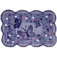 Purple Butterfly Purple Nylon Area Rug (3'3 x 4'8)