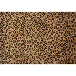 "Leopard Print Brown Area Rug - 5' x 7'3"""