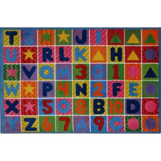 Numbers and Letters Multi-colored Nylon Area Rug (8' x 11')