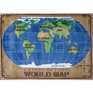 World Map Blue Nylon Area Rug (5u00273 X ...