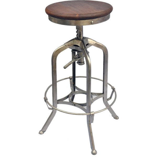 Devan Adjustable Iron Mango Wood Stool Free Shipping