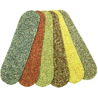 "Rhody Rug Sandi Reversible Braided Stair Treads (Set of 4) - 8"" x 28"" Oval"