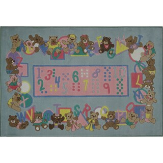 Teddies and Letters Pink Nylon Area Rug (2'6 x 3'9)