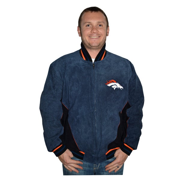 watch 5ec64 12965 Denver Broncos NFL Suede Leather Jacket