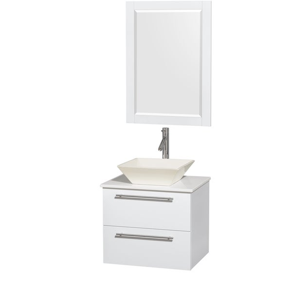 Wyndham Collection Amare 24-inch Single Vanity in Glossy White with White Stone Countertop/ 24-inch Mirror
