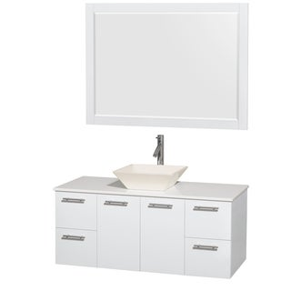 Wyndham Collection Amare 48-inch Single Vanity in Glossy White with White Stone Countertop/ 46-inch Mirror