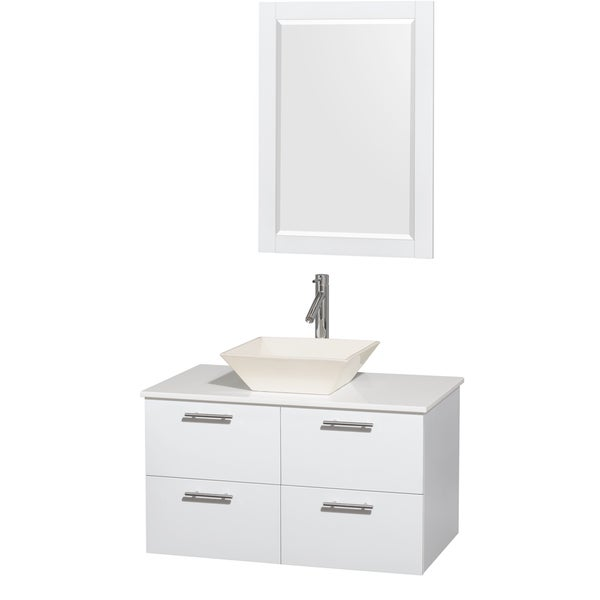 Wyndham Collection Amare 36-inch Single Vanity in Glossy White with White Stone Countertop/ 24-inch Mirror