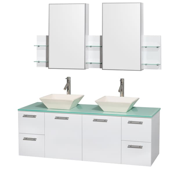 Wyndham Collection Amare 60-inch Double Vanity in Glossy White with Green Glass Countertop/ Medicine Cabinet