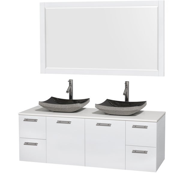 Wyndham Collection Amare 60-inch Double Vanity in Glossy White with White Stone Countertop/ 58-inch Mirror