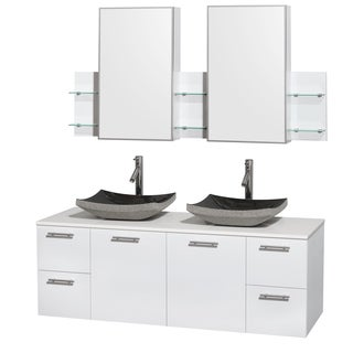 Design Element 60 Inch Cosmo Black Granite Double Sink
