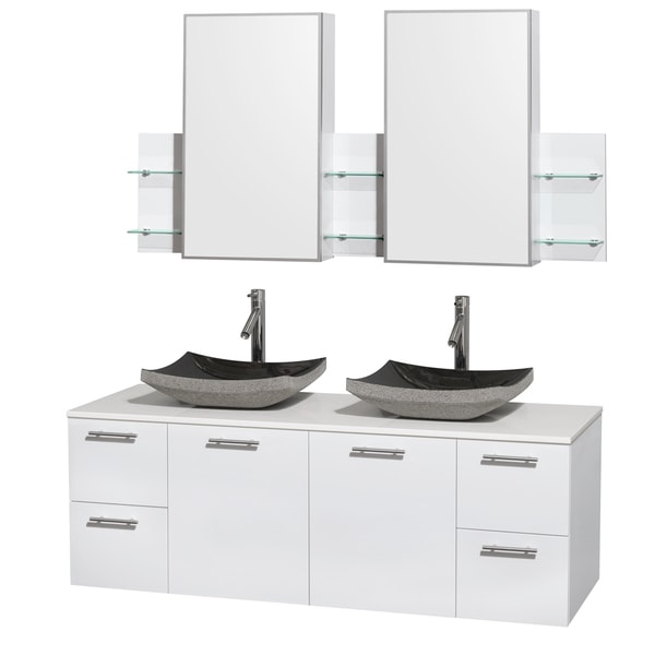 Wyndham Collection Amare 60-inch Double Vanity in Glossy White with White Stone Countertop/ Medicine Cabinet